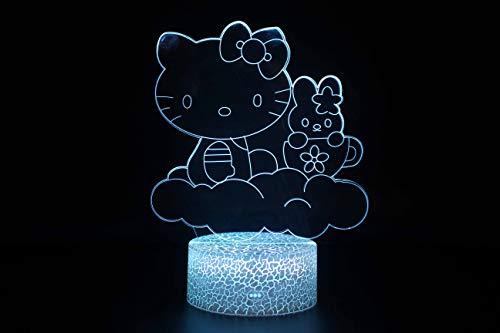 Creative Hello Kitty 3D Illusion Lampe, 7 Couleurs Dégradé Night Light Led Crack Smart Touch Lampe De Table, Lampe De Chevet