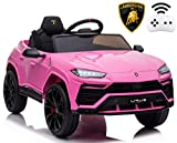 Rock Wheels Licensed Lamborghini Urus Ride On Truck Car Toy, 12V Battery Powered Electric 4 Wheels Kids Toys w/ Parent Remote Control, Foot Pedal, Music, Aux, LED Headlights, 2 Speeds (Pink)