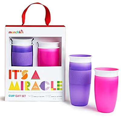 Munchkin It's a Miracle! Gift Set, Includes 10oz & 14oz Miracle 360 Cup, Pink/Purple by AmazonUs/MUNO9
