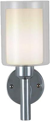 Moderno Lámpara Pared,Aplique De Cristal Minimalista Moderno,Luz De Pared De La Escalera De La Sala De Estar Interior del Pasillo,Cuerpo De La Lámpara De Hierro Fuente De Luz E27,Cromo: Amazon.es: Hogar