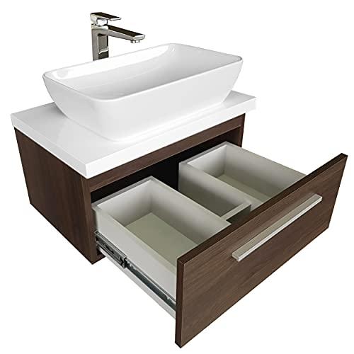 Waschbecken mit Unterschrank Granada 80 cm Hängend mit Platte Aufsatzwaschbecken mit Unterschrank Schoner Badmöbel (Eiche Dunkel)