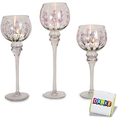 Wurm 3 teiliges Glaskelch Windlicht Set, Kelche Lavendel Dekor auf Standfuß Kerzenhalter Kerzenständer Kerzenleuchter Höhe: 40, 35 & 30cm
