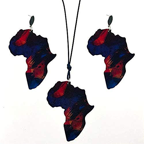 YZXYZH Collar Pendiente De Gota De Madera Material Natural Collar Colgante Vintage Mapa De África Conjuntos De Joyas Rojas Collar Boho De Declaración La Longitud Se Puede Ajustar De 40 Cm A 80 Cm