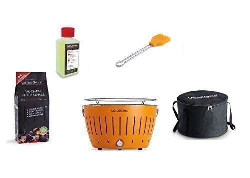 LotusGrill Barbecue Kit de démarrage 1x Lotus Barbecue charbon de bois de hêtre Mandarine et Orange 1x 1kg, 1x Pâte combustible 200ml, 1x Pinceau Mandarine Orange, 1x sac de transport