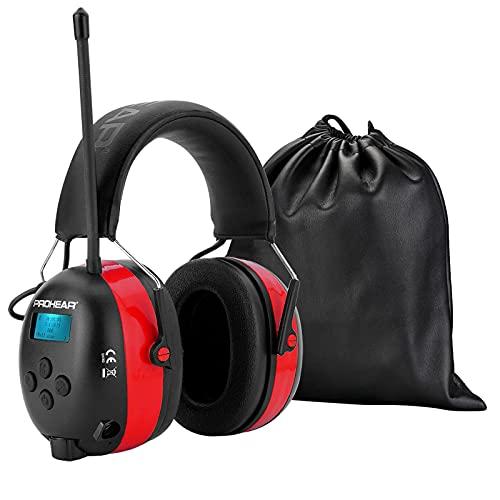 PROHEAR 033A Radio-Gehörschutzgerät mit DAB + / FM / Bluetooth 5.0 Radio-Ohrenschützern,Eeingebautem Mikrofon ,zur Reduzierung von Mähgeräuschen, geeignet für laute Freizeitaktivitäten, SNR30dB -Rot