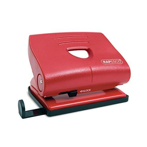 Rapesco 820-P - Perforadora de 2 agujeros, 22 hojas de capacidad, color rojo