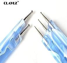 CLAVUZ 5pcs 2 Ways Marbleizing Tool Dotting Dots Pen Kit for DIY Nail Design Manicure Pedicure Tools Blue Dotting Pen Set