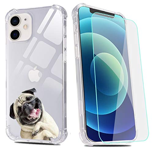 Pug Dog Phone case for iPhone 7/iPhone 8/iPhone SE 2020 with Screen Protector, Clear Pug Dog Pattern Soft Flexible TPU Ultra-Thin Shockproof Transparent Bumper Protective Case for iPhone