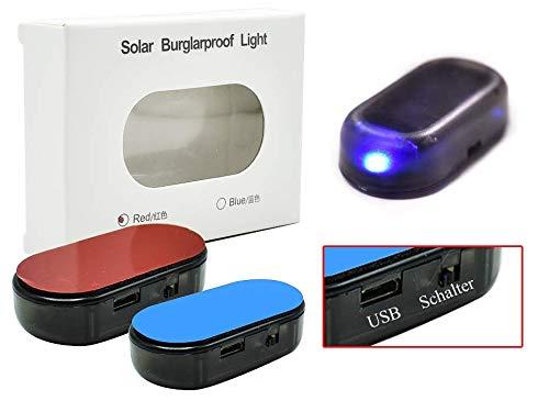 TOP Marques Collectibles Alarma para Coche con USB y batería Solar de imitación, antirrobo (Azul)