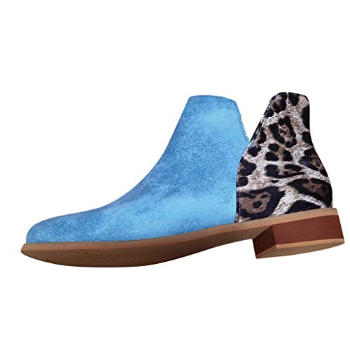 Stivali Donna Moda Leopard Serpentine Scarpe con Tacchi Quadrati all aperto (39,Blu)