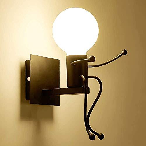 Humanoide LED Lámpara de Pared, Robot Luz de Pared Hierro E27,Aplique de metal industrial Creatividad Art Deco Estilo, Para Dormitorio, Cocina, Restaurante, Cafetería, Comedor, Negro