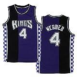Ropa de Baloncesto para Hombre, Sacramento Reyes # 4 Chris Webber Swingman NBA Jersey, Deportes al Aire Libre Uniformes de Baloncesto Camiseta sin Mangas CAM Top Top,XXL