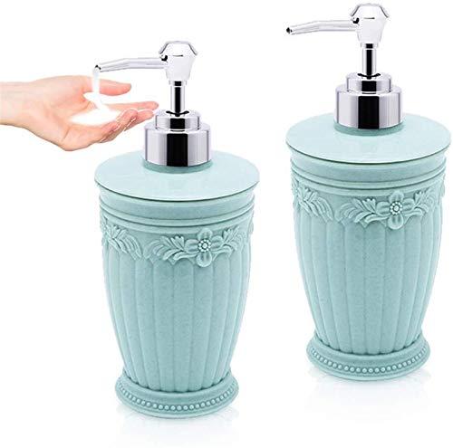 WUCHENG 2pcs botella dispensador de jabón vacío plástico mano rellenable dispensador de desinfectante de grabado líquido de la bomba de prensa champú botella recipiente de gel de ducha cocina 400ML di