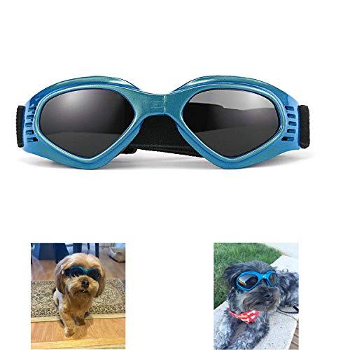 XUNKE Gafas de Sol para Perros, Perro Gafas para Perros pequeños y medianos Impermeable Plegable Protector Ocular Protección UV Antivaho (Azul)