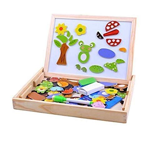TEMSON 2 in 1 Magnetic Wooden Puzzle Educational Learning Game Toy with Writing & Drawing Boardfor Kids
