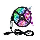 SMEJS Luz de Tira LED Lámpara Flexible USB SMD RGB 2835 5M DC5V Escritorio TV Fondo de Escritorio Cable 3 Control Clave