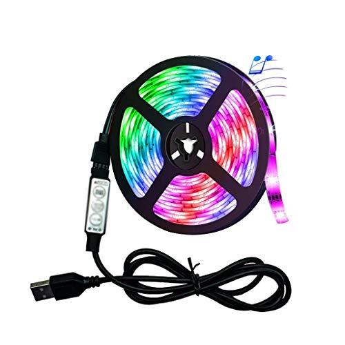 XJJZS Luz de Tira LED Lámpara Flexible USB SMD RGB 2835 5M DC5V Escritorio TV Fondo de Escritorio Cable 3 Control Clave