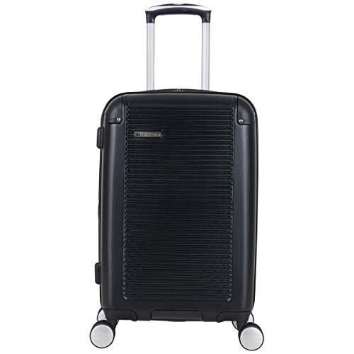 BEN SHERMAN Norwich Collection Lightweight Hardside PET Expandable 8-Wheel Spinner Luggage, Midnight Black, 20-Inch Carry-On