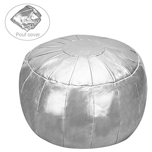 Rotot Pouf/Ottoman, Faux Leather Pouffe Cushion, Round Bean Bag Chair, Decorative Footstool, Comfortable Foot Rest, Soft Storage Solution or Wedding Gifts (Silver, Unstuffed)