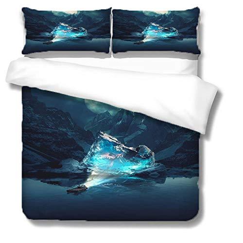 Juego De Cama Funda nórdica Iceberg en Barco de Agua, Paisaje Funda de edredón Ropa de Cama 3D impresión 1 Funda nórdica 200x200 cm + 2 Fundas de Almohada - Doble Ropa de Cama