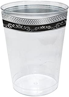 Tumblers - 10 Oz | Black and Silver | Pack of 10