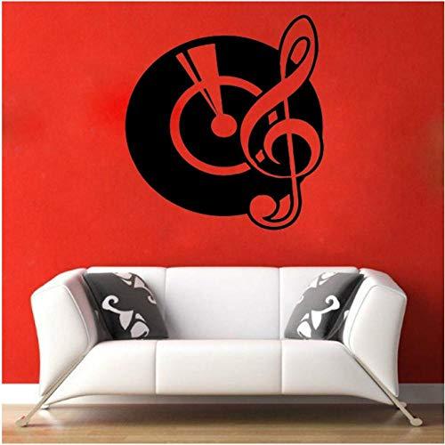 Calcomanías de pared Gramófono Arte Etiqueta de la pared Decoración para el hogar Dormitorio Guardería Música retro Notas de vinilo Patrón autoadhesivo Extraíble 42x45 cm
