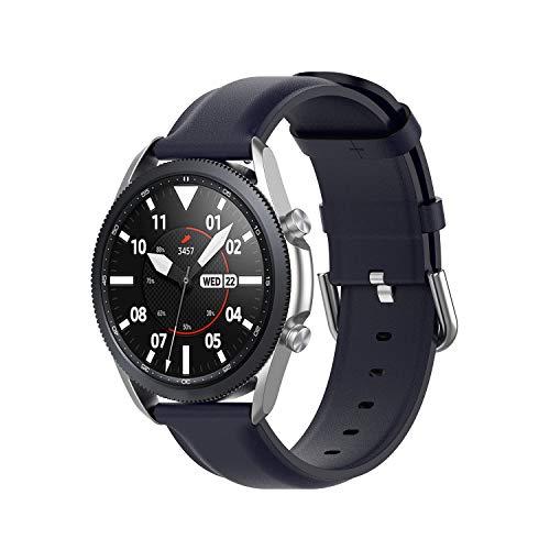 Wownadu 20mm Correa Compatible para Samsung Galaxy Watch 3 41mm Correas Azul Mujer Hombre Pulsera Recambio Cuero Band Compatible para Garmin Vivoactive 3 (sin Reloj)