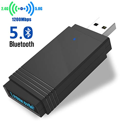 Lemorele Adaptador WiFi USB 3.0 AC1200Mbps USB Bluetooth 5.0 Adaptador de Banda Dual Súper Rápido 5.8G/2.4G WiFi Dongle MU-MIMO 5dBi para Windows 10/8.1/8/7/XP, Linux