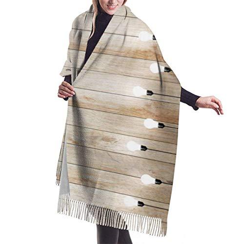 yunshenbuzhichu Holz Wand mit Birne Lampe Strahler Womens Pashmina Schals Wraps warme Winter Schals Geschenk reversible weiche Kaschmir fühlen Herbst Schal für Mädchen