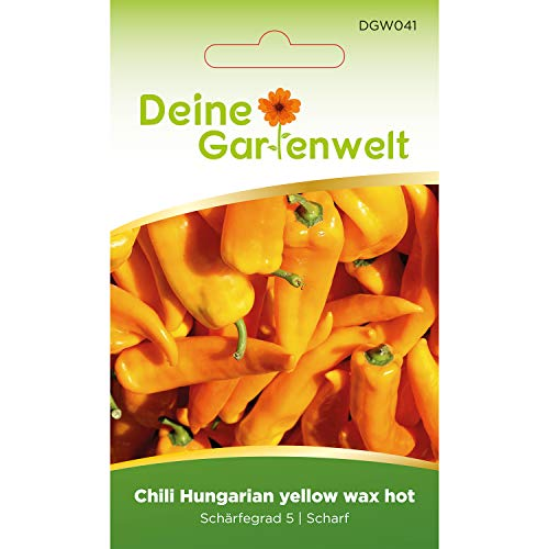 Chili Hungaria yellow wax hot | Samen für scharfe Chilis | Chilisamen | Saatgut für ungarische Chilis
