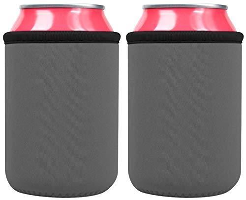 Can Cooler Sleeves – Premium Neoprene Insulated Reusable Can & Bottle Holders - Perfect for Soda, Beer Cans, and Water Bottles (2 Pack, Grey)