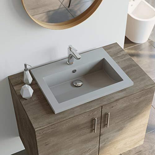 Festnight- Granitbecken | Bad-Waschbecken mit Überlauf | Rechteckig Waschschale | Aufsatzwaschbecken | Badezimmer Handwaschbecken | Schwarz/Grau/Weiß Granit 600 x 450 x 120 mm