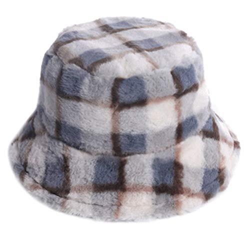PRETYZOOM Winter Eimer Hut Warme Plüsch Eimer Kappe Warme Fischer Kappe Plaid Winddichte Fischer Hut für Frauen Mädchen (Farbe 1)
