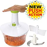 Brieftons Express Food Chopper: Large 6.8-Cup, Quick & Powerful Manual Hand Held Chopper/Mixer to Chop Fruits, Vegetables, Herbs, Onions for Salsa, Salad, Pesto, Hummus, Guacamole, Coleslaw, Puree