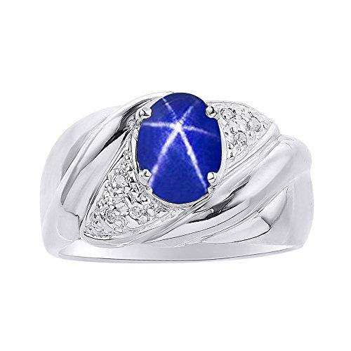 Juego de anillos de plata de ley con diseño de estrella de zafiro y diamante y azul – Anillo de piedra de nacimiento de color