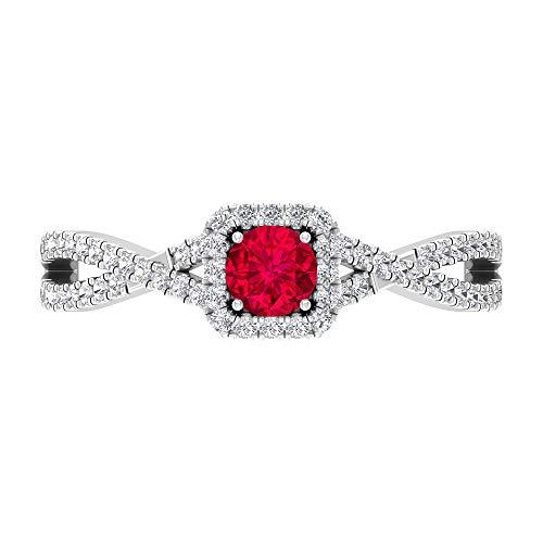 Anillo de compromiso de rubí, anillo de diamantes halo, anillo solitario de oro con piedras laterales (4 mm Ruby), oro de 14 quilates, Metal, Diamond Ruby,