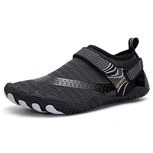 Womens Barefoot Walking,RQWEIN Men Water Sports Shoes Quick Dry Aqua Socks Swim Shoes for Pool Beach Walking Running(Black,5.5)