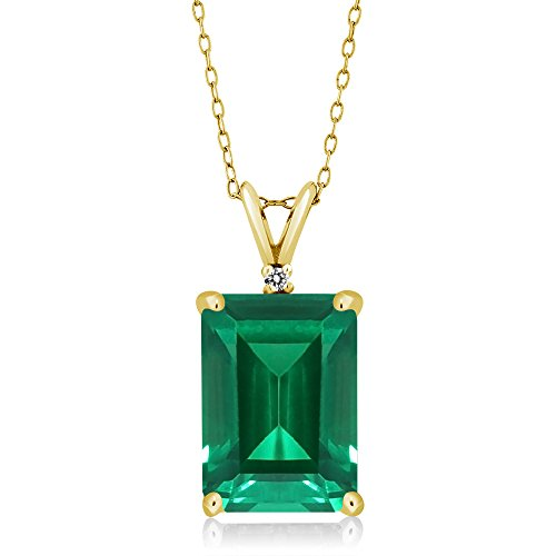 Gem Stone King 18K Yellow Gold Plated Silver Green Simulated Emerald and White Diamond Pendant Necklace For Women (6.52 Cttw with 18 Inch Silver Chain)