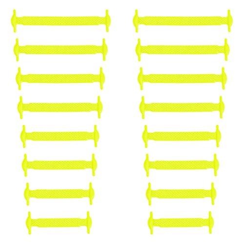 Xunits Elastische Silikon Schnürsenkel neon-gelb, flach Schleifenlose Schuhbänder in 13 (neon) für Kinder & Erwachsene