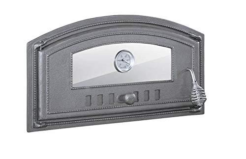 BBQrolling Pizzaofentür Premium 490x280 Backofentür aus Gusseisen mit Glas + Thermometer Offentür Brotofentür/Links/