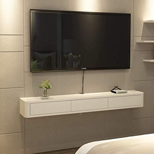 Soporte de TV flotante montado en la pared Consola de medios Gabinete de almacenamiento moderno con puertas correderas Sala de estar Consola de TV Estante de entretenimiento de medios Escritorio