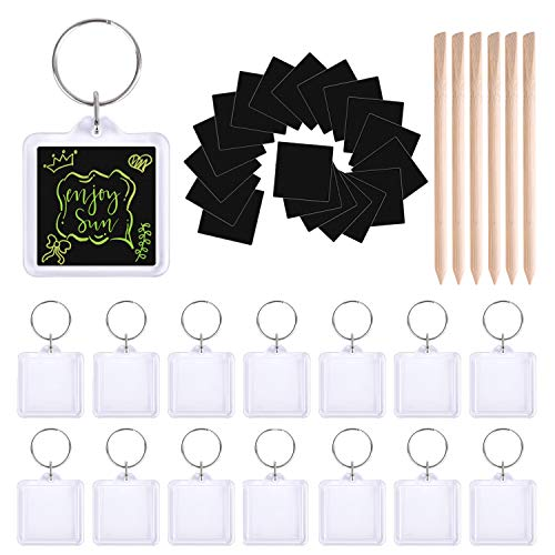 TUPARKA 38 Pcs Scratch Art Key Chain Set Scratch Rainbow Papers Rainbow Key Ring for Party Bag Fillers and Craft Supplies