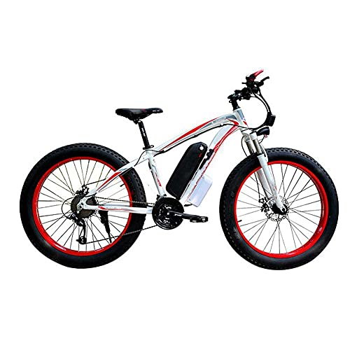 WXDP Autopropulsado Bicicleta eléctrica Snow, 4.0 Fat Neumático Bicicleta eléctrica Profesional 27 velocidades Transmisión Engranajes Freno de Disco 48V15Ah Batería de Litio Adecuado para 160-190
