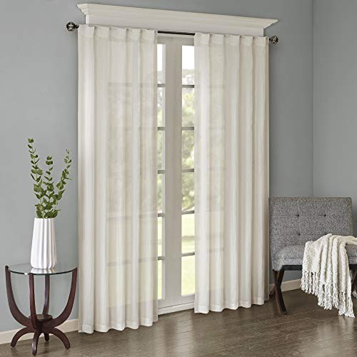 Madison Park Harper Sheer Bedroom, Modern Contemporary Window Curtain for Kitchen, Solid Fabric Panels, 42