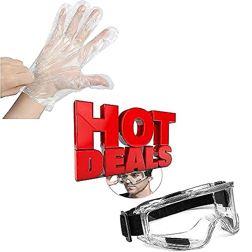 400PCS Plastic Gloves Disposable + Protective Safety Goggles Clear