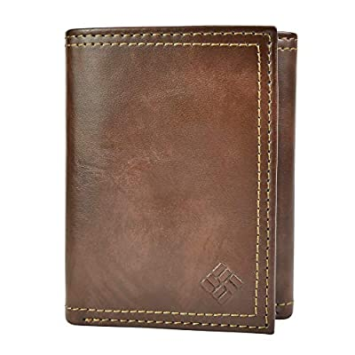 Columbia Men's RFID Leather Wallet Trifold Vertical Security Protection, Brown Marble, One Size