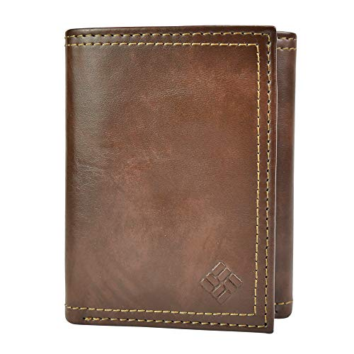 Columbia Men's RFID Blocking Leather Slim Trifold Wallet, Brown Marble, One Size