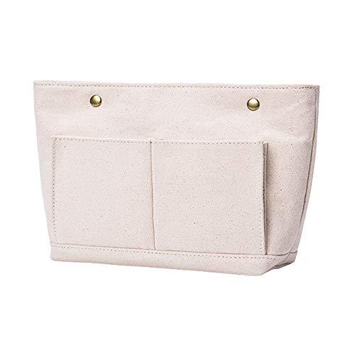 APSOONSELL 北欧 シンプル 布製 バッグインバッグ 小さめ ヨコ バックインバック 軽い 白 バックいんバック レディース メンズ Sサイズ ベージュ