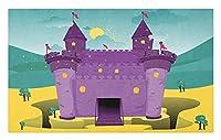 城の玄関マット、背景テーマの山の風景のある漫画、装飾的なポリエステル床マット、40x60 cm