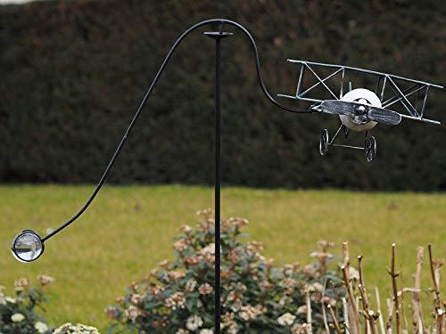 Thermobrass Windspiel XXL Wippe Gartendeko Gartenstecker Figur Außendeko Gartenfigur Flugzeug roter Baron aus Metall - Handarbeit - 121 x 80 x 33 cm